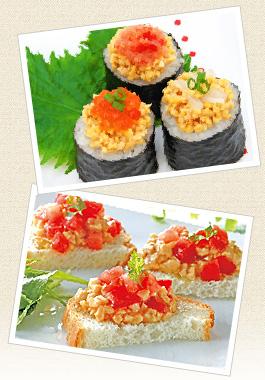 写真:ひきわり納豆調理例